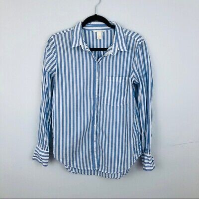H&M Blue and White Striped Button Down Blouse Size 6