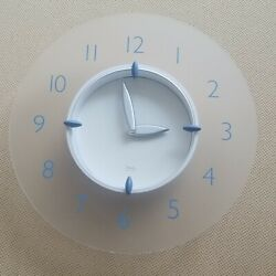 Vintage Modern Michael Graves for Target Wall Clock Frosted Acrylic Blue Silver