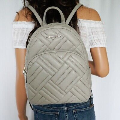Michael Kors Backpack Bag Abbey Quilted Medium Pearl Grey Leather RRP £310