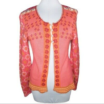 Oilily Floral Sequin Trim Cardigan Size Large