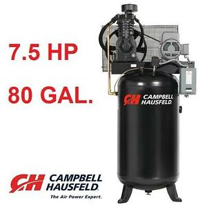 NEW*CH 80 GAL 25 CFM AIR COMPRESSOR CAMPBELL HAUSFELD 7.5 HP 175 MAX PSI TWO STAGE VERTICAL COMPRESSORS AUTO GARAGE