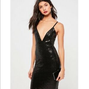 Missguided Black Sequin Midi Dress (size small)