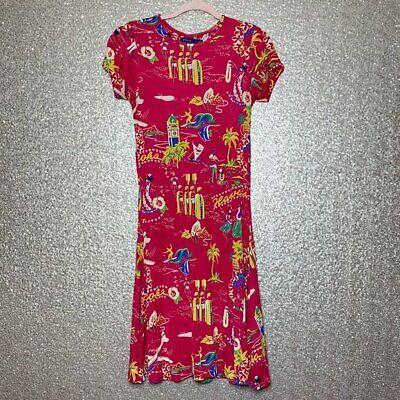 Polo Ralph Lauren Womens Sz M Red Hawaiian Tropical Dress