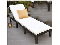 Brand New Garden Brown Rattan Single Seater Cream Cushions Furniture Sun Lounger Outdoor Sun Bed