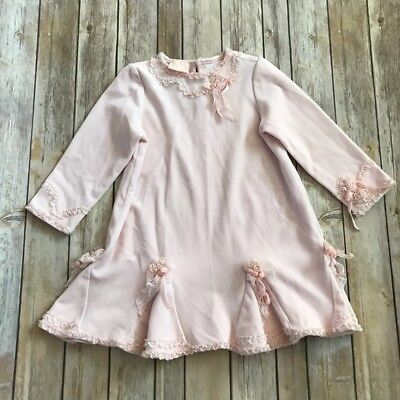 Biscotti Velvet (Girl's Baby Biscotti Pink Velvet Dress with Ribbons and Lace Size 4T Flower)