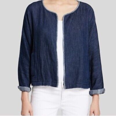 Eileen Fisher Open Front Blue Organic Cottom Sweater Cardigan Jacket Petite M