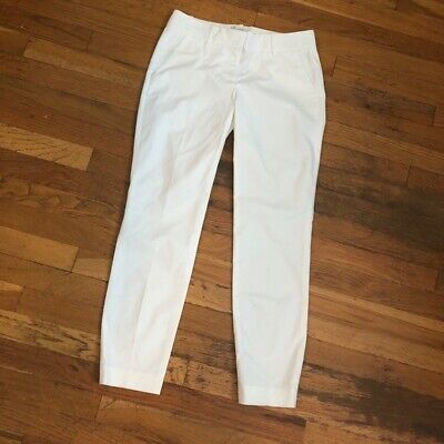 "J. CREW WHITE cropped CAFE CAPRI Pant size 00 Cotton stretch inseam 27"" waist 14"