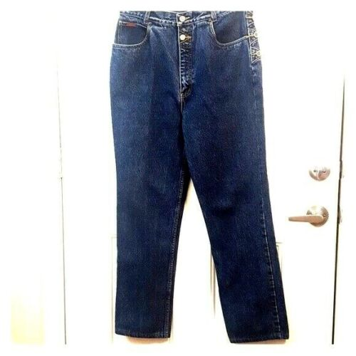 """VINTAGE LAWMAN Western Rodeo Cowgirl 13/14 W32"""" High Rise Straight Leg Jeans"""