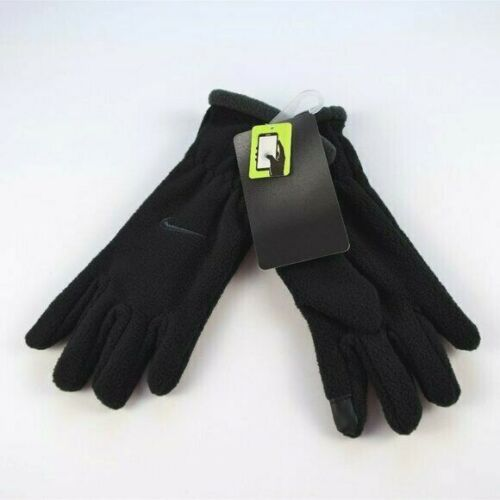 NWT Nike Youth Black Gloves Gray Trim Touch Screen Kids Unisex Fleece
