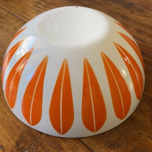 """Vintage MCM Catherineholm Catherine Holm orange lotus bowl 9.5 by 4"""""""