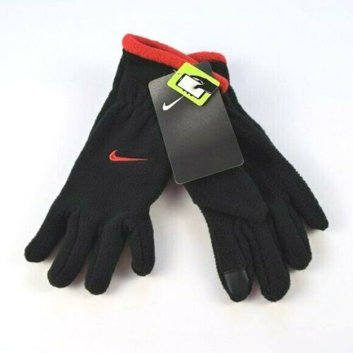 NWT Nike Youth Black Gloves Red Trim Touch Screen Kids Unisex Fleece
