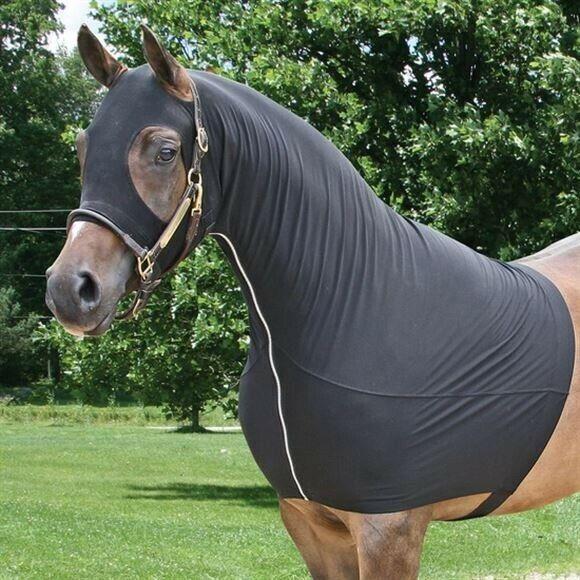 UltraFlex Three Season Full Zip Lycra Horse Black Show Slicker Hood Size Medium