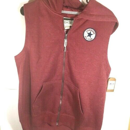 NWT Converse Vest Jacket Hoodie Boys XL Magenta zip front