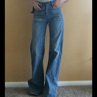 black label RRL Double RL, high waist, vintage style, bell bottom jean, s 27, 28