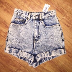NEW American Apparel Denim High Waist Blue Acid Wash Shorts