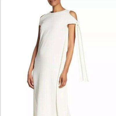 Helmut Lang Women's Tie-sleeve Silk-trim Midi Night Out Dress Ivory XS NWT 595