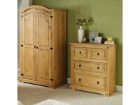 Brand New Monterrey Solid Pine 2 Piece PINE Wardrobe and Chest of Drawers Bedroom Set