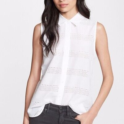 Equipment Colleen White Eyelet Sleeveless Top Shirt Blouse XS