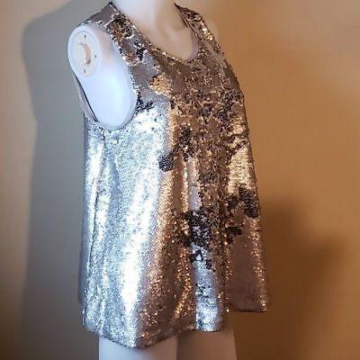 RACHEL Rachel Roy Silver Sequined Swing Sleeveless Top Evening Wear Medium (Sequined Swing)