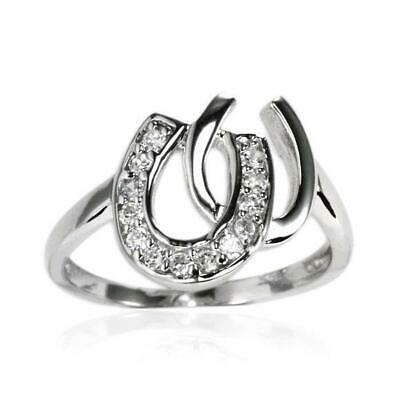 925 Sterling Silver Cubic Zirconia Interlinked Horseshoe Ring
