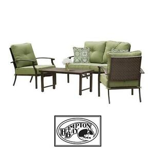 NEW* HAMPTON BAY 4 PIECE PATIO SET 2 CHAIRS LOVESEAT FOLDING TABLE - FURNITURE DECOR SEATING SEATS CHAIR PORCH HOME