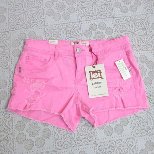 lei Ashley Low rise Pink Distressed Denim Shorts size Juniors 11