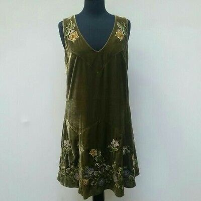 Anna Sui for Anthropologie, embroidered green velvet dress, size 6, NWT, rare (Anna Green Dress)