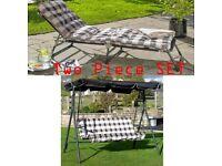 Brand New Cushion Padded Sun Lounger 3 Seater Swing Garden Patio 2 Piece Set - Cream