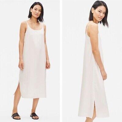 NWT $248 Eileen Fisher White Cami Slip Dress Sandwashed Tencel Midi Sz. L