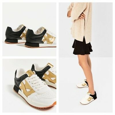 Used, ZARA Sneakers Tricolor Women Black White Gold Size 5.5 / 36 Pre - Owned  for sale  Shipping to Nigeria