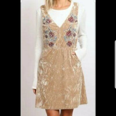 Anthropologie Hummingbird Size M Jumper Dress Crushed Velvet Embroidered NWT