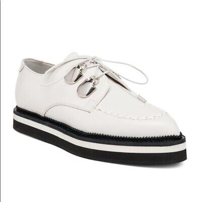 Alexander McQueen 8 winter white leather creepers