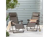 NEW Set of 2 Bronze Zero Gravity Loungers Sun Chairs Outdoor Reclining Garden