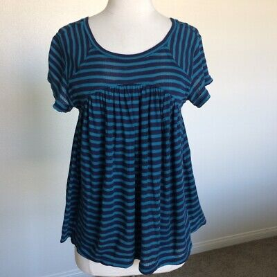 Free People Jojo striped navy tee Sz XS NWT MSRP $68