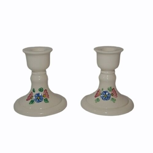 Ceramic Floral Tapered Candle Holders USA Hand Painted Set of 2 Vintage