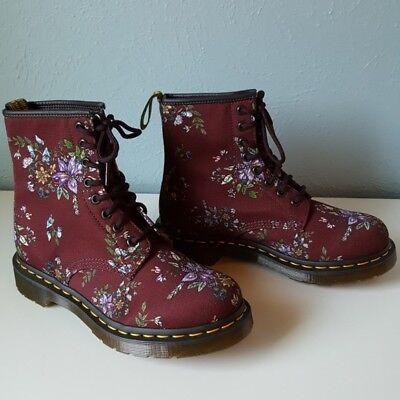 RARE * NEW Dr. Martens Belladonna Castel Floral Combat Boots Grunge Red UK4/US6 (Floral Combat Boots Dr Martens)
