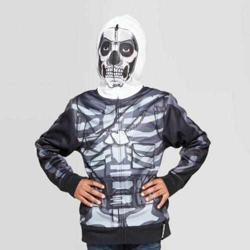 Fortnite Skeleton Hoodie Full Zip Face Mask Skull Trooper Sweatshirt NWT BOYS