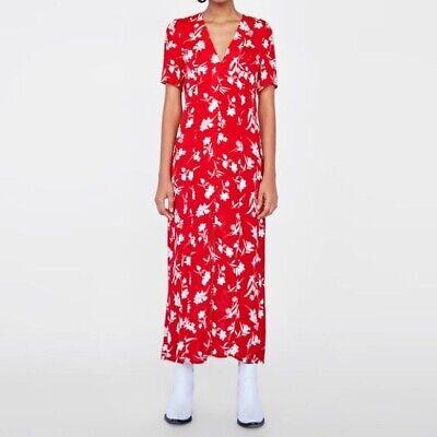 Zara XS Midi Red White Floral Button Slit Dress