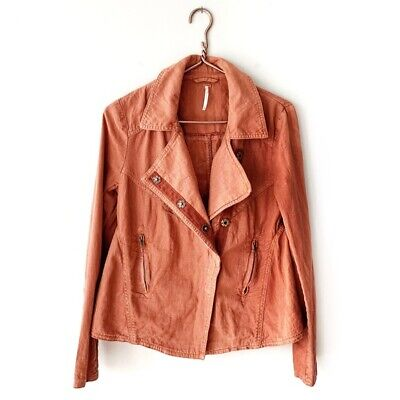 Free People | Linen Rust Moto Asymmetric Zip Jacket Womens Small Lightweight