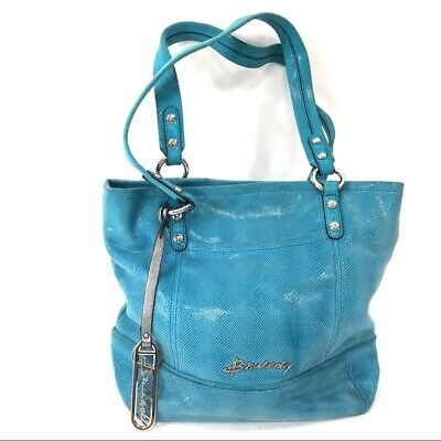 B Makowsky Blue Snakeskin Leather Large Hobo Satchel Womens Purse