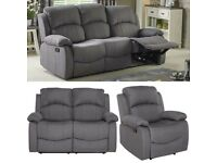 Brand New Set of 3+2+1 Seater Fabric Recliner Manual Armchair Sofa Couch - Grey