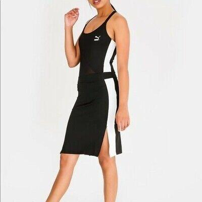 Puma Womens Archive T7 Midi Dress Casual Black 575066 01 A19E size12(m)