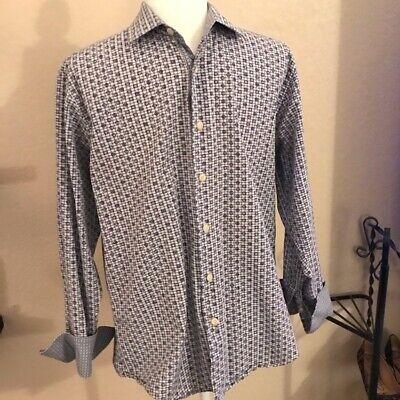 Tallia Mens Dress Shirt Size S 15 1/2 Button Up Flip Cuff Dot Pattern Cotton Dotted Pattern Dress Shirt