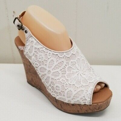 Jellypop 8.5M Lenore Cork Wedge Peep Toe Sandals Slingbacks Lacy Floral Tan Lace