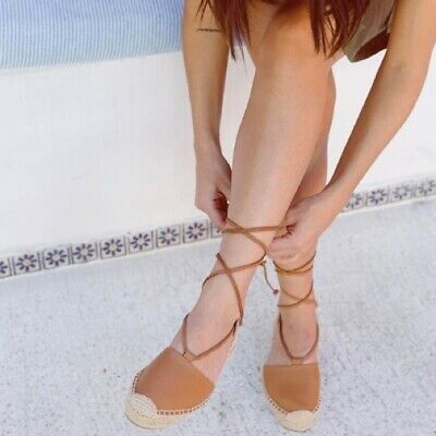 Soludos Classic Sandals Lace Up Espadrilles Size Womens 8