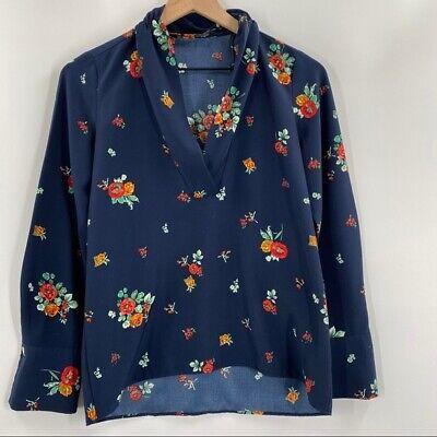Zara- Women's Sz XS Blue Printed Floral V-Neck Blouse