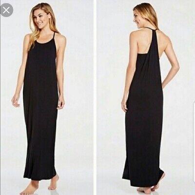 Fabletics Womens Neema Draped Back Tank Maxi Dress XS Black Sleeveless Strappy