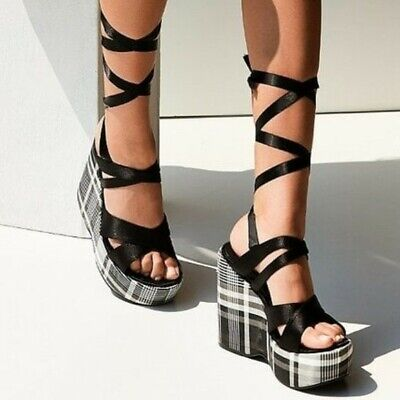 Anthropologie Intentionally Blank Classified Plaid Platform Wedge Sandals 8M