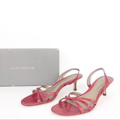 Ann Taylor Size 6.5 Womens Red Leather Open Toe Kitten Heels