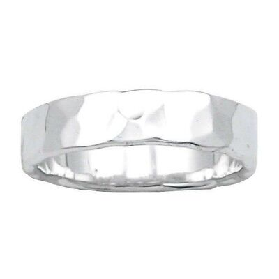 Hammered Finish Wedding Band 5 mm Ring Solid Sterling Silver 925 4.2 gr Size 5 5mm Hammered Band Ring